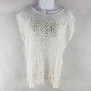White Lace Sheer Top M